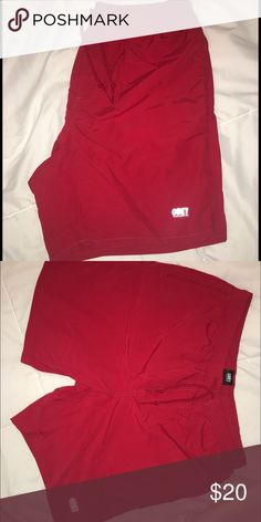 Men's red obey swim trunks Red lightly work obey swimming trunks Obey Swim Swim Trunks