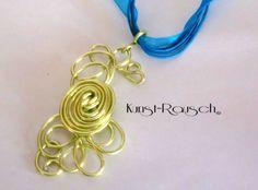 Kette Blau Gold von Kunst-Rausch auf DaWanda.com