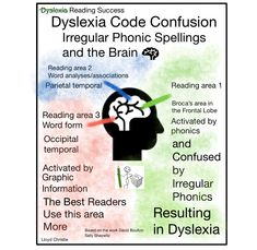 Dyslexia, Code Confusion and over activation in the Broca's area of the brain, due to Irregularities in the Phonetic code. Frontal Lobe, Reading Words, Good Readers, Dyslexia, Confusion, Phonics, Spelling, Vocabulary, Brain