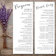 Printable wedding program featuring modern calligraphy with a dash of rustic elegance. Double sided in the popular Tea Length size to allow