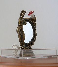 "JJim Pounder, IGMA artisan - ""L'dama Specchio Bronze""  art nouveau lamp with mirror, limited edition of 200"