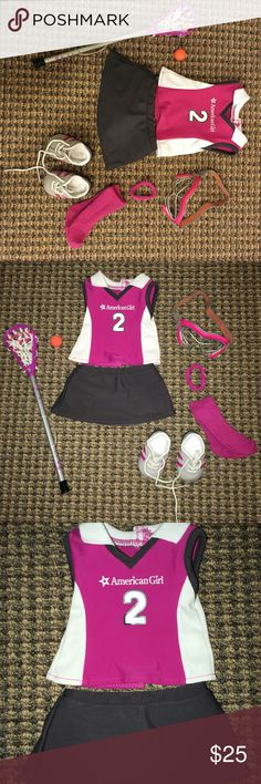"""American Girl Lacrosse Outfit NWOT In perfect condition!! Includes lacrosse stick, ball, pair of shoes, pair of socks, jersey, skirt, ponytail holder, and mask. The outfit is so cute but was never used so I decided to sell it. Fits all 18"""" inch dolls. Ask all the questions you want! I consider all offers. BLACK FRIDAY/CYBER MONDAY DEAL!!! American Girl Doll Other"""