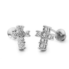 14k Gold Plated 925 Silver Baby CZ Cross Children Screwback Earrings Baby, Toddler, Kids & Children $18.00