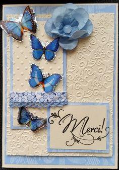 carte en srap, merci! envolé de papillon bleu de Aux P'tits Artistes les cartes sur DaWanda.com