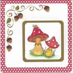 stempel gekleurd, een herfstborduurpatroontje, met wat herftkleurtjes,  er op gedaan en klaar is mijn herfstkaartj