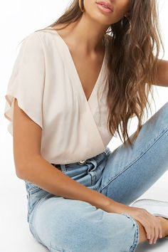 Crepe Surplice Bodysuit Perfect for layering with skirts