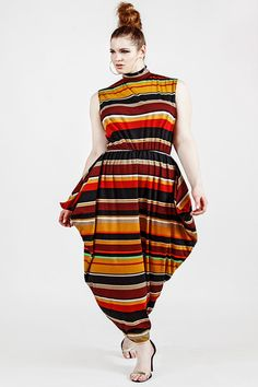 JIBRI Plus Size Sleeveless Striped Maxi w Hip by jibrionline, $200.00