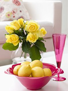 Yellow roses with pink