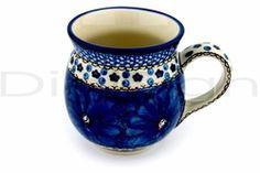Ceramika Boleslawiec Set of 4 Polish Pottery Floral Jumbo Barrel Bubble Coffee Mugs Blue Peacock Feathers 16-Ounce