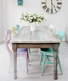 Shabby dining table with multi colored pastel chairs gives this room a vibrant a. Shabby dining table with multi colored pastel chairs gives this room a vibrant and inviting feel. Shabby Chic Dining Room, Shabby Chic Sofa, Shabby Chic Interiors, Chic Living Room, Shabby Chic Homes, Shabby Chic Furniture, Shabby Cottage, Bedroom Furniture, Shabby Chic Table And Chairs