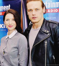 Sam Heughan (Jamie Fraser) & Caitriona Balfe (Claire) from the Outlander series on Starz at ComicCon 2015