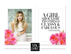 The Fashion Petals Magazine Spread is a double page feature that gives you the versatility in showcasing your work while encouraging your clients. With bright colors and flowers featured, keep the quote or add an additional image. This spread will give your Magazines that perfect flair and honestly, its just really pretty. Enjoy!    Special Thank You to our FEATURED PHOTOGRAPHER: Salome Photography! She is amazing and is a wonderful advocate for Mag Love Designs! Check her out at…