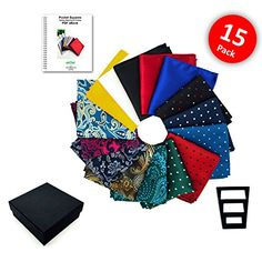 e3d1532ff3f8 Buy Pocket Squares for men 15 Pack set in Gift Box Assorted colors Polka  dots Paisley Plain by ekSel