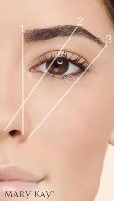 Beauty Tip: The right brow shape can actually lift your face and open up your eyes. Remember that the wider the space in between the the brows, can make the tip of nose appear wide as well. 1- is where a eyebrow should begin. 2- where arch should be. 3- is where brown ends. www.facebook.com/beautifulyoumarykay
