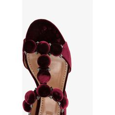 Alaïa studded flat sandals (£740) ❤ liked on Polyvore featuring shoes, sandals, strappy flats sandals, t-strap flats, flat pumps, studded flats and flat sandals