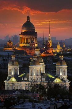 Saint Petersburg .... View from Sowjetskaja Hotel to St. Nicholas Cathedral around midnight in July. In the background Saint Isaac's Cathedral and the towers of Saint Peter & Paul Cathedral can be seen.