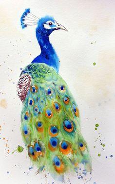 Regal Peacock - peacock painting - peacock wall decor - bird art (2017) Watercolour by Olga Beliaeva  | Artfinder