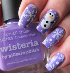 piCture pOlish 'Wisteria' Frosty the snowman mani art by It's All About The Polish!  Shop on-line now: www.picturepolish.com.au