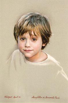 Portrait of a boy -- by Mary Villon de Benveniste, American Digital Portrait, Portrait Art, Portrait Photography, Eye Painting, Painting People, Pastel Portraits, Watercolor Portraits, Pastel Drawing, Pastel Art
