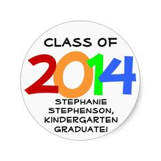 Personalized Graduation Class of 2014 Modern Color Stickers for Kindergarten or Preschool Favors/Envelope Seal/Crafts #classof2014 #graduation #gradparty @Zazzle Inc.