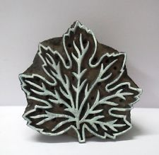 WOODEN HAND CARVED TEXTILE PRINTING FABRIC BLOCK STAMP MAPLE LEAF DESIGN PRINT
