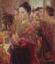 ภาพเขียน สวมมงกุฏ ศิลปิน อาจารย์ จักรพันธุ์ โปษยกฤต 2534