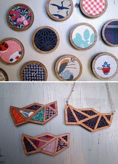 "vintage fabric panels delicately inlaid into brooches: on Etsy ""Madz has Runway"""