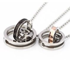 """Justeel Jewelry His & Hers Couples Gift Heart Stainless Steel Pendant Necklace Love Valentine Necklace with 18"""" inch and 22"""" inch Chain $9.99 ONLY FROM HERE >>> http://amzn.to/Xb85kd"""