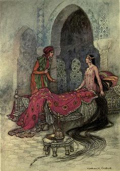"""Folk-tales of Bengal 1912 Illustrations by Warwick Goble """"In a trice she woke up, sat up in her bed, and eyeing the stranger, iquired who he was. Warwick Goble, Harry Clarke, Kay Nielsen, Arthur Rackham, Fairytale Art, Old Paintings, Paintings Online, Children's Book Illustration, Art Plastique"""