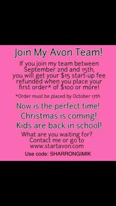 Www.startavon.com and use reference code SHARRONGIMIK