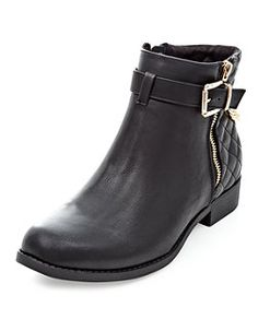 Black Chain Quilted Back Ankle Boots  | New Look