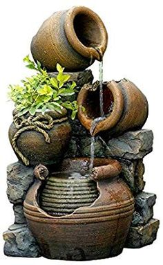 Amazon.com : Jeco Inc. FCL055 Outdoor Water Fountain with Flower Pot, 12.6L x 13.4W x 23.6H, Multicolor : Free Standing Garden Fountains : Garden & Outdoor