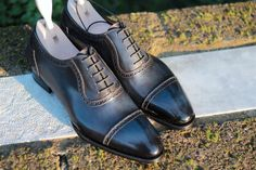 """meccariello-calzoleria: """""""" Aurum: Model Romulus """" An captoe adelaide oxford made on the Mayfair last with a slightly larger welt. In blue handcoloured french boxcalf. """""""