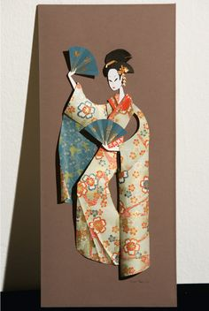 Geisha by Megan Brain Origami Girl, Origami And Kirigami, Origami Paper, Japanese Origami, Japanese Paper, Asian Cards, Origami Diagrams, Newspaper Crafts, Cardmaking And Papercraft