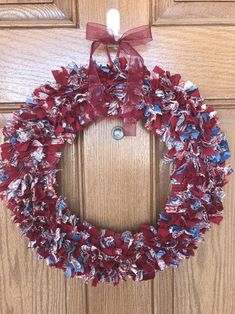 Burgundy Wreath / Red Wreath for Front Door / Fall Rag Wreath | Etsy #FabricScissors Autumn Wreaths For Front Door, Fall Wreaths, Wreath Hanger, Diy Wreath, Fabric Dining Room Chairs, Fabric Wreath, White Wreath, Patriotic Wreath, Wreath Forms