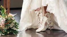 Classic Ivory Lace Wedding Boots and Shoes - House of Elliot