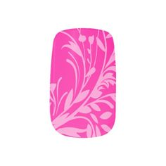 Wildflower outline damask style hot pink art nails nail art