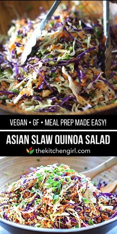 Meal prep and eat clean with Asian Slaw Quinoa Salad. Enjoy as a vegan salad or add chicken, pork, or shrimp for added protein Meal prep and eat clean with Asian Slaw Quinoa Salad. Enjoy as a vegan salad or add chicken, pork, or shrimp for added protein … Slaw Recipes, Easy Salads, Healthy Salad Recipes, Asian Pasta Salads, Cabbage Salad Recipes, Salad Recipes Video, Summer Salads, Crockpot Recipes, Chicken Recipes