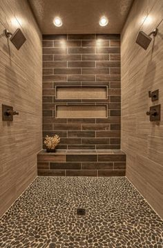 Master Bathroom shower design with pebble tile floor and bench. via Houzz Master Bathroom Shower, Small Bathroom, Bathroom Ideas, Bathroom Designs, Bathroom Bench, Modern Bathroom, Shower Bathroom, Shower Alcove, Rustic Master Bathroom
