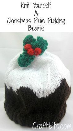 This Christmas Knitting pattern shows you how to make a knitted plum pudding beanie suitable for an adult sized head. Christmas Knitting Patterns, Knitting Patterns Free, Knit Patterns, Free Knitting, Baby Knitting, Knitting Ideas, Free Pattern, Baby Patterns, Knitting Projects