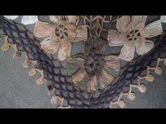 Manufacture of seasonal shawls - Knitted of Şeyma . Love Crochet, Irish Crochet, Crochet Lace, Crochet Stitches, Crochet Shawls And Wraps, Crochet Scarves, Knitting Videos, Crochet Videos, Crochet Flower Tutorial