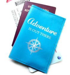 Leather Passport Cover - Adventure Is Out There. A travel accessory must have.  The perfect gift for a frequent flyer or first time traveler.