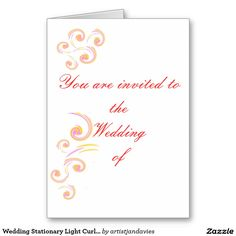 Wedding Stationary Light Curl set Greeting Card