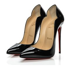 CHRISTIAN LOUBOUTIN Patent Hot Chick 130 Pumps 36.5 Black ❤ liked on Polyvore featuring shoes, pumps, black patent pumps, high heel stilettos, pointy-toe pumps, black patent leather pumps and christian louboutin shoes