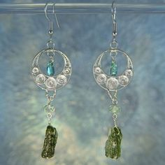 Apatite & Moldavite Beaded Sterling Silver by ArkadianCollection