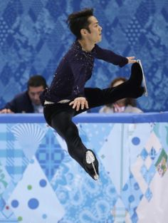 Daisuke Takahashi of Japan competes in the men's free skate figure skating final at the Iceberg Skating Palace during the 2014 Winter Olympi...