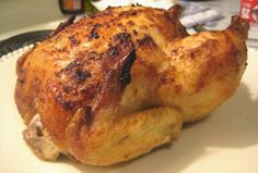 Kittencal's Best Blasted Rapid-Roast Whole Chicken- The juicy meat and crispy skin makes this the best roasted chicken EVER! Best Roasted Chicken, Roast Chicken Recipes, Baked Chicken, Best Whole Chicken Recipe, Moist Chicken, Turkey Recipes, Deutsche Girls, Cooking Recipes, Healthy Recipes