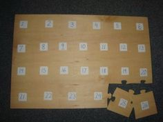 Flip an ABC puzzle over and write numbers on the backs of the pieces for number recognition practice. Gross Motor Activities, Counting Activities, Hands On Activities, Educational Activities, Preschool Activities, Simple Math, Basic Math, Learning Through Play, Fun Learning