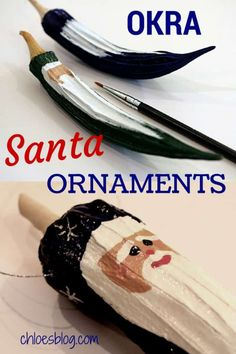 Handmade Christmas Santa ornaments from dried Okra make fabulous gifts. They are great DIY projects with the family and cost very little to make. These precious Santas keep for years. Santa Ornaments, Handmade Ornaments, Diy Christmas Ornaments, Christmas Snowman, Christmas Holidays, Christmas Decorations, Xmas, Ornament Tree, Glitter Ornaments