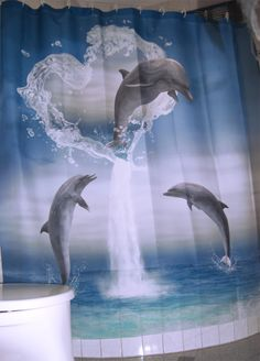 http://www.cafepress.com/gatterwe.627937707   The heart from the Dolphins Shower Curtain #dolphins #cafepress #hearts